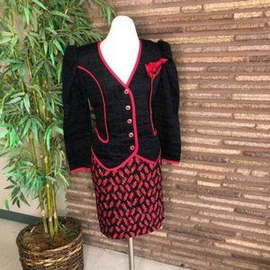 Jeanne Marc Vintage 80s Puckered Red Black Suit